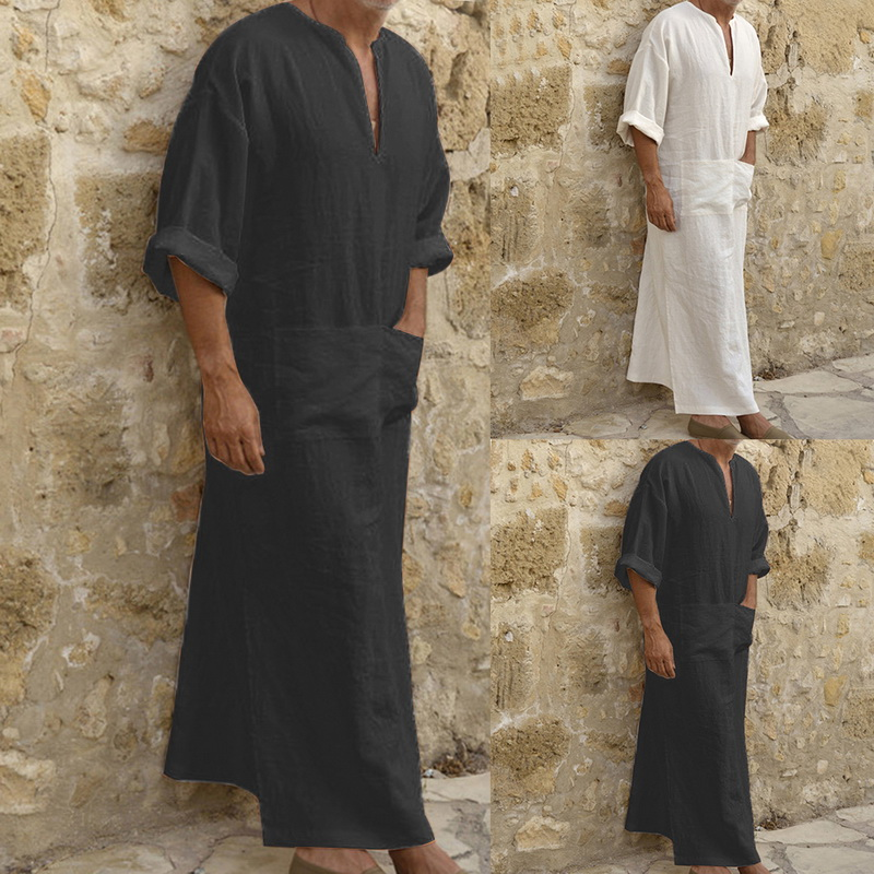 Casual Loose Long Sleeves Male Pocket Arab Muslim Men's Shirt Plus Size 2019 Fashion Cotton and Linen Button Plain Robes