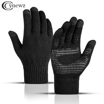 Zimowe męskie rękawiczki z dzianiny z ekranem dotykowym antypoślizgowe gumowe solidne biznesowe jazda na rowerze pełne palce jesienne przeciwpoślizgowe męskie rękawiczki tanie i dobre opinie cynewz Dla dorosłych CN (pochodzenie) Akrylowe spandex Stałe Nadgarstek Moda CN039