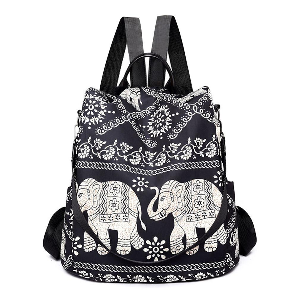 Multifunctional Anti-Theft Backpack Women Casual Oxford Elephant Tree Print Fashion Large Capacity Travel School Shoulder Bag