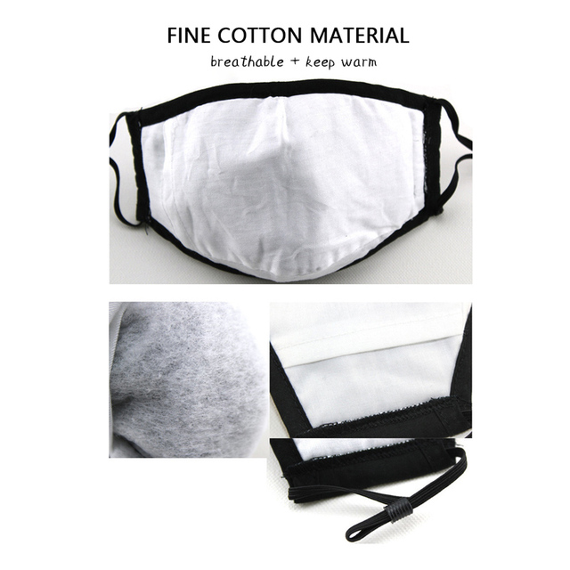 fashion washable dust mask cotton with breathing valve activated card plug in filter mask face mouth protection mask 4