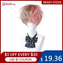L-почта парик вьющиеся короткие Для мужчин парик Лолита розовый смешанный коричневый парик Harajuku Kawaii Косплэй парика, устойчивая к высоким те...