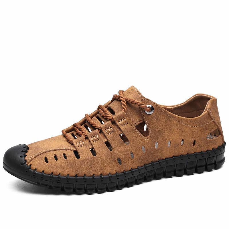 2019 Nieuwe Zomer Mannen Echt Lederen Sandalen Business Casual Schoenen Mannen Outdoor Strand Sandalen Romeinse Mannen Zomer Water Schoenen Maat 48