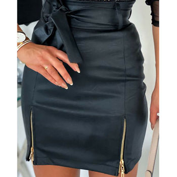 Fashion Women Skirt Mini Slim Skirt High Waist Office Ladies PU Leather Pencil Bodycon Skirt trendy women s elastic waist pu leather spliced skirt