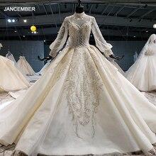 HTL1258 2020 חתונה שמלת boho גבוהה צוואר ארוך שרוול נצנצים ואגלי קריסטל תחרה עד בחזרה כלה שמלות suknia ślubna boho חדש