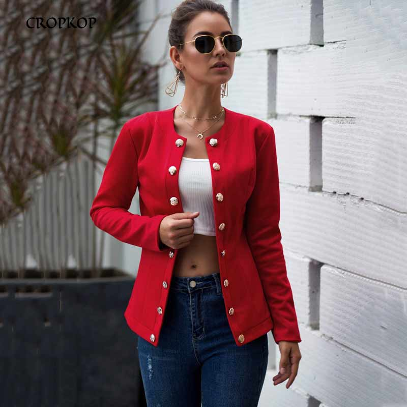 Casual Blazer Women Long Sleeve Autumn Blazer Suits Feminino Casual Red Slim Ladies Coat Office Outfits Streetwear Clothing 2019
