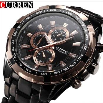 Fashion Curren Luxury Brand Man quartz full stainless steel Watch Casual Military Sport Men Dress Wristwatch Gentleman New - discount item  47% OFF Men's Watches