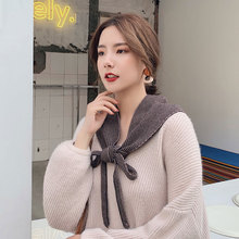 NEW Winter korean ladies scarves Striped triangle scarf for women double knit wool girl shawls autumn warm neck