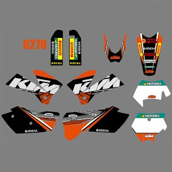 Full Graphics Decals Stickers Kit Custom Number Name Glossy Stickers For KTM 125 200 250 300 400 450 525 540 EXC 2005 2006 2007