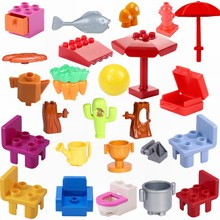 Legoing Duplo City Building & Construction Toy Carrot Cactus Chair Bread Bricks Duploed Sets Kids Toys Compatible Citys Legoings(China)
