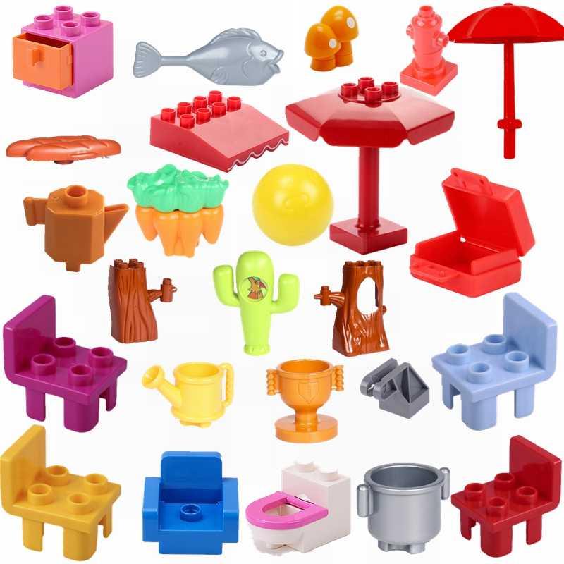 Legoing Duplo miasto budynek i zabawka budowlana marchewka kaktus krzesło chleb cegły Duploed zestawy dla dzieci zabawki kompatybilne Citys Legoings