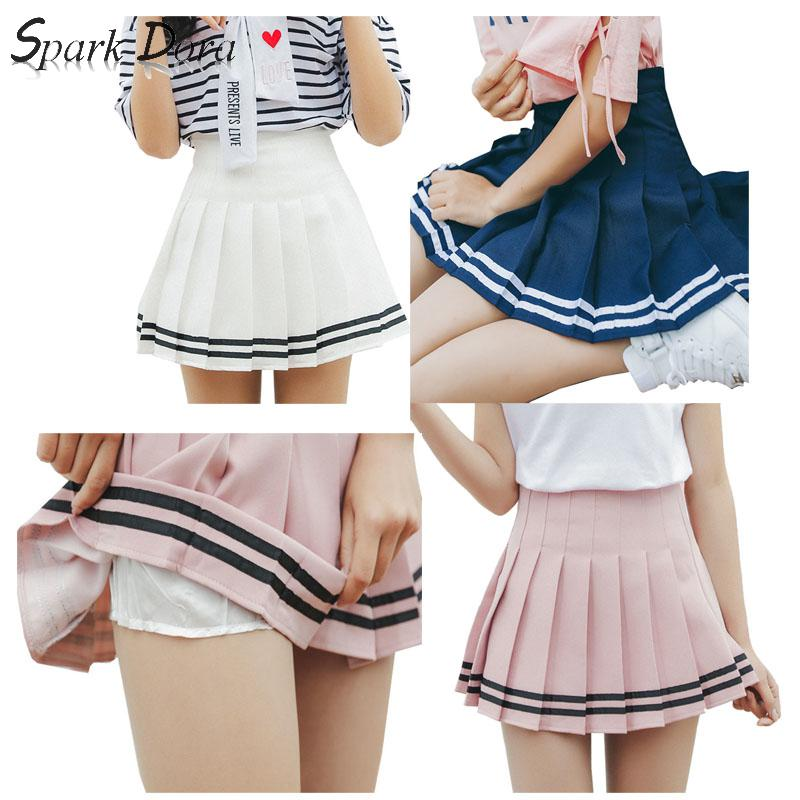 SparkDora Girls Plaid Skirt Sexy Tennis Skirt Sweet Stripe High Waist Skirt Uniforms Cheerleading Sports Running Skirt