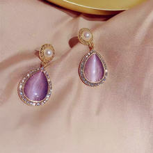 Женские винтажные серьги капли с фиолетовым опалом вечерние