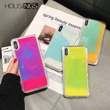 Luxury Luminous Sand Case For iPhone XR XS Max X Liquid Glitter Quicksand Neon 7 8 6 6s Plus Soft TPU Funny Cover