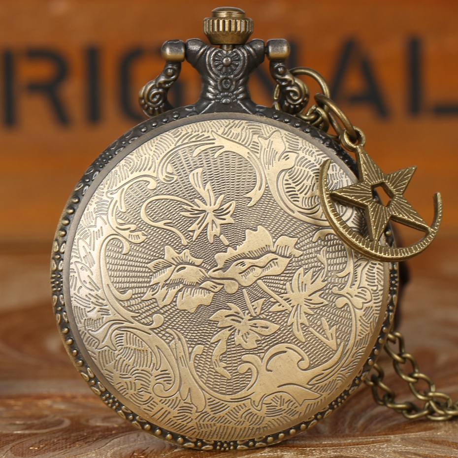 Retro Bronze Turkey Flag Design Moon Star Circle Quartz Antique Pocket Watch Punk Necklace Pendant for Men Women with Accessory