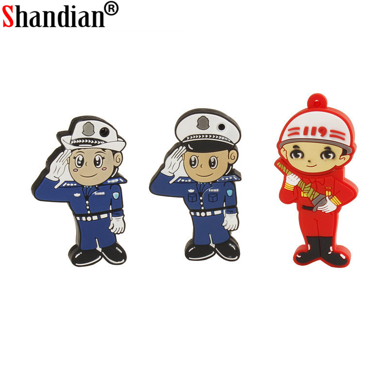 SHANDIAN New Arrival Police Man Usb Flash Drive Traffice Police Pendrive 4GB 8GB 16GB 32GB 64GB Gift Memory Stick
