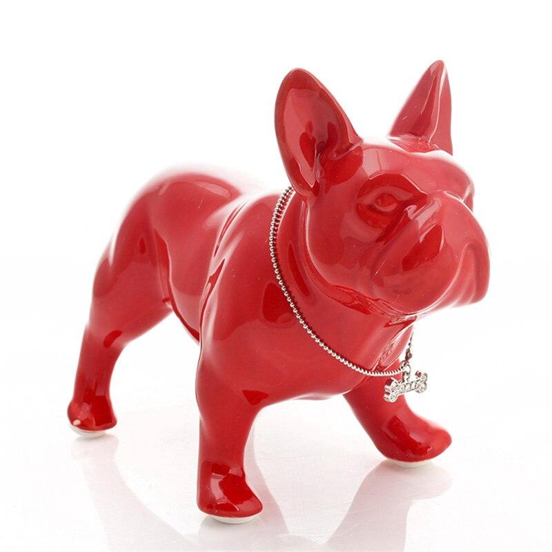 Nordic Modern Fashion Ceramic Bulldog Dog Animal Statue Wine Cabinet Home Desk Ornaments Bedroom Living Room Gift M4309