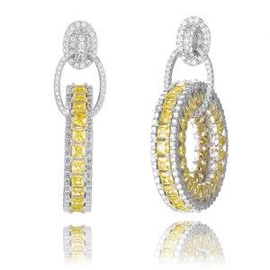 Image 1 - GODKI Jimbora Luxury Popular Round Pendant Dangle Earrings Full Mirco Paved Cubic Zircon Naija Wedding Earring Fashion Jewelry