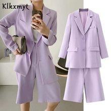 Klkxmyt-Conjuntos de traje para mujer, ropa de oficina inglesa, simple, unicolor, de una sola botonadura, chaquetas y pantalones cortos, Bermudas, dos piezas