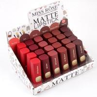 Miss Rose 24PCS/LOT Lipstick Matte Cosmetics Sexy Red Lip Waterproof Makeup Matte Lipsticks Tint Nude Lipstick Matte Batom Lips