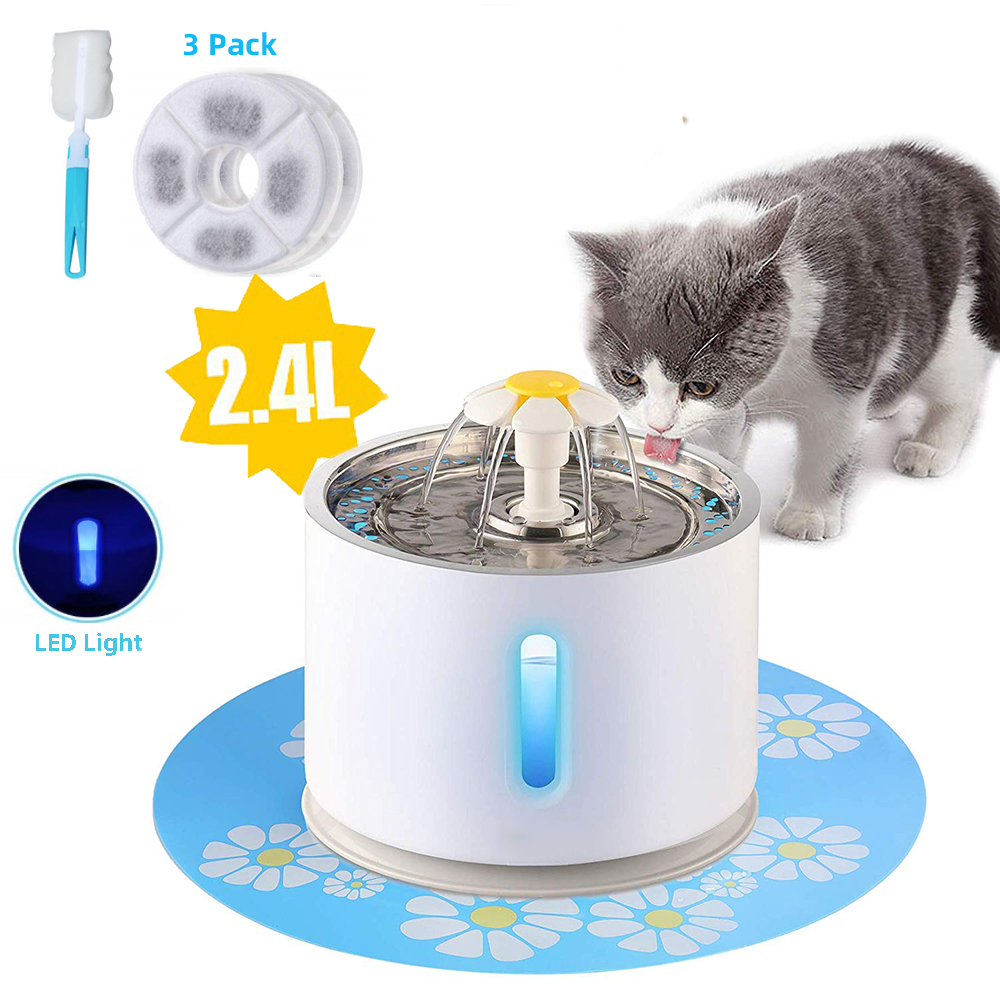 Pet Cat Fountain 2.4L Drinking Window LED Automatic Dog Cat Water Drinking Bowl USB Pet Drinking Dispenser With 3 Carton filters