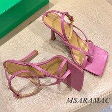 Modne różowe japonki sandały na wysokim obcasie letnie skórzane kwadratowe toe buty sukienka street ladies wszystkie mecze buty imprezowe