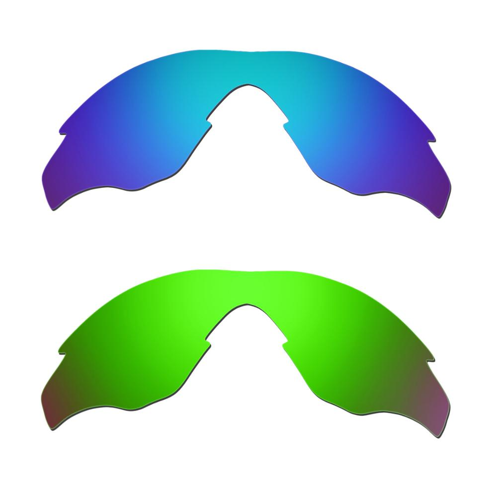 HKUCO For M2 Sunglasses Replacement Polarized Lenses 2 Pairs - Blue & Green