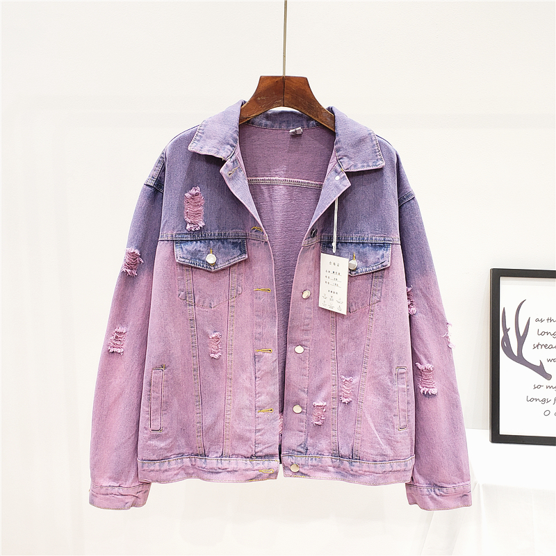 Fashion Hit Color Holes Denim Jacket Women Outerwear Harajuku Loose Long sleeve Short Washed Jeans Jacket Coat Streetwear Female
