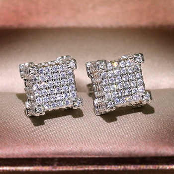 Bling Zircon Stone Hip Hop Silver Gold Square Stud Earrings for Man Women Korean Earrings 925 Silver