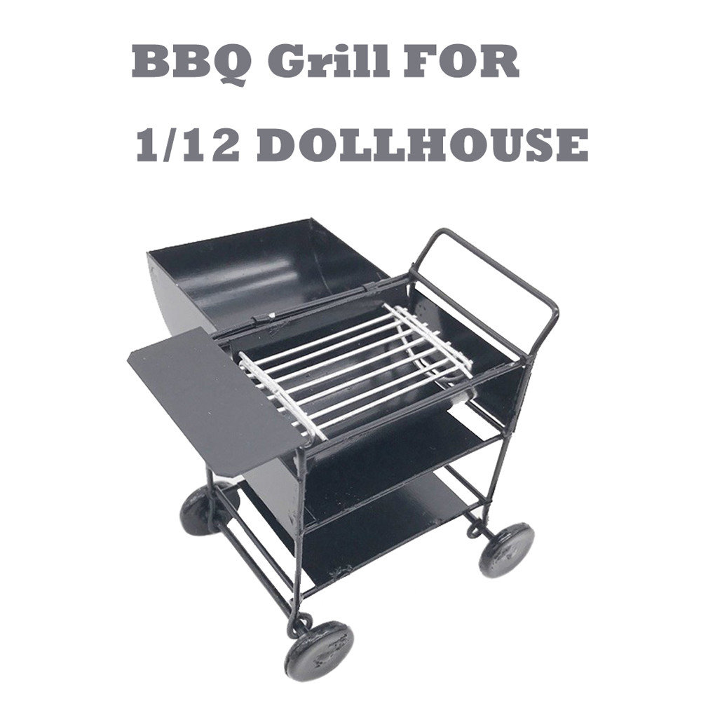 HIINST KitchenToys 1Set BBQ Grill Miniature Yard Garden 1/12 Mini Toy Kids Black 7cm BBQ Accessory For Your Dollhouse