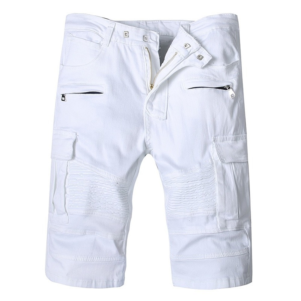 New Jeans Men Shorts White Denim Pants Lightweight Knee Length Stretch Denim Jeans Fashion Casual White Trousers Dropshipping