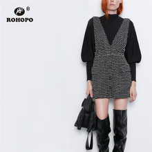 ROHOPO Wide Strap Tweed Fabric Flared Plaid Black Dress V Collar Buttons Fly Sid