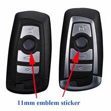 100 piezas 11mm de diámetro logotipo de la llave del coche, insignia de metal de la llave remota del coche, etiqueta de la insignia de la llave del coche