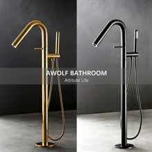 Bathtub Floor Standing Faucet Tap Full Solid Brass Bathroom Bathtub Mixer Faucet Shower Shiny Gold Chrome polishing AH3036