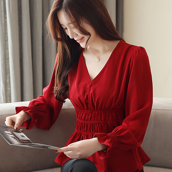 2021 New Spring Womens Sexy V-Neck Chiffon Shirt Female Long Sleeve Red Lace Blouse Crochet Lantern Belt Feminina Blusas