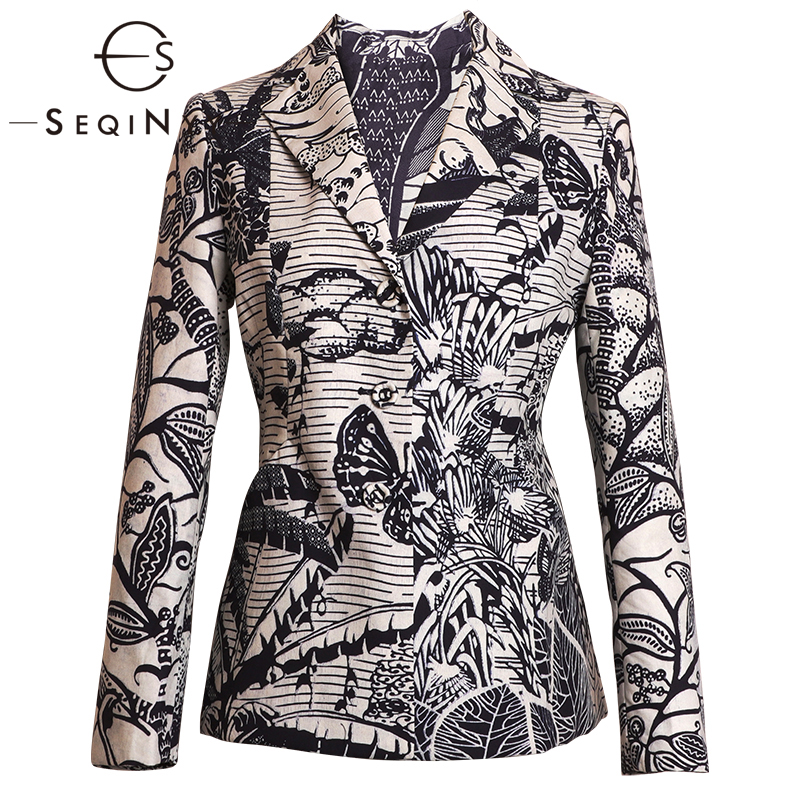 SEQINYY Vintage Blazer 2020 Early Spring Autumn New Fashion Design Blue Fowers Printed Cotton Short Jacket