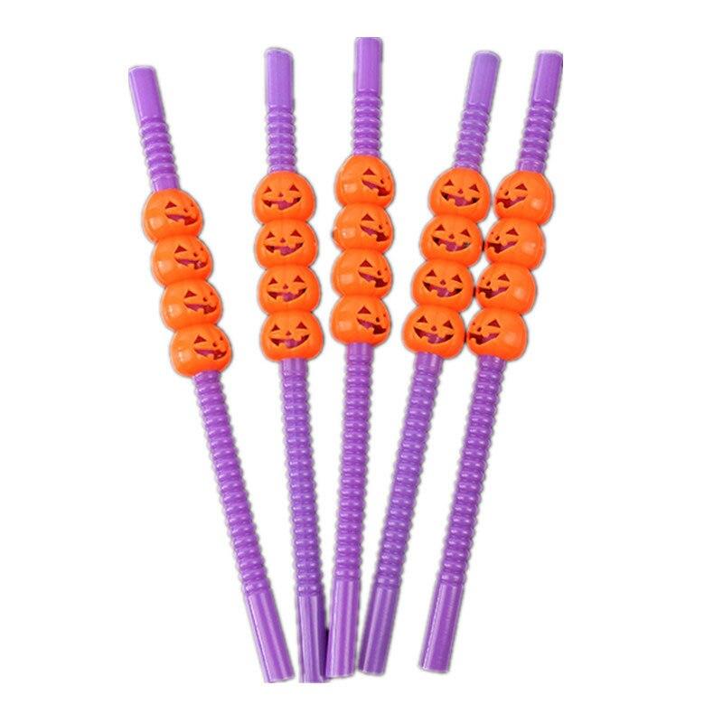 5Pcs Creative Fashioin Halloween Theme Plastic Flexible Straw Cartoon Cute Pumpkin Skeleton Decorative Drinkware Trick or Treat|  - title=