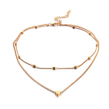 Simple tide girl street shoot item peach heart multi-layer clavicle necklace necklace European and American jewelry(China)