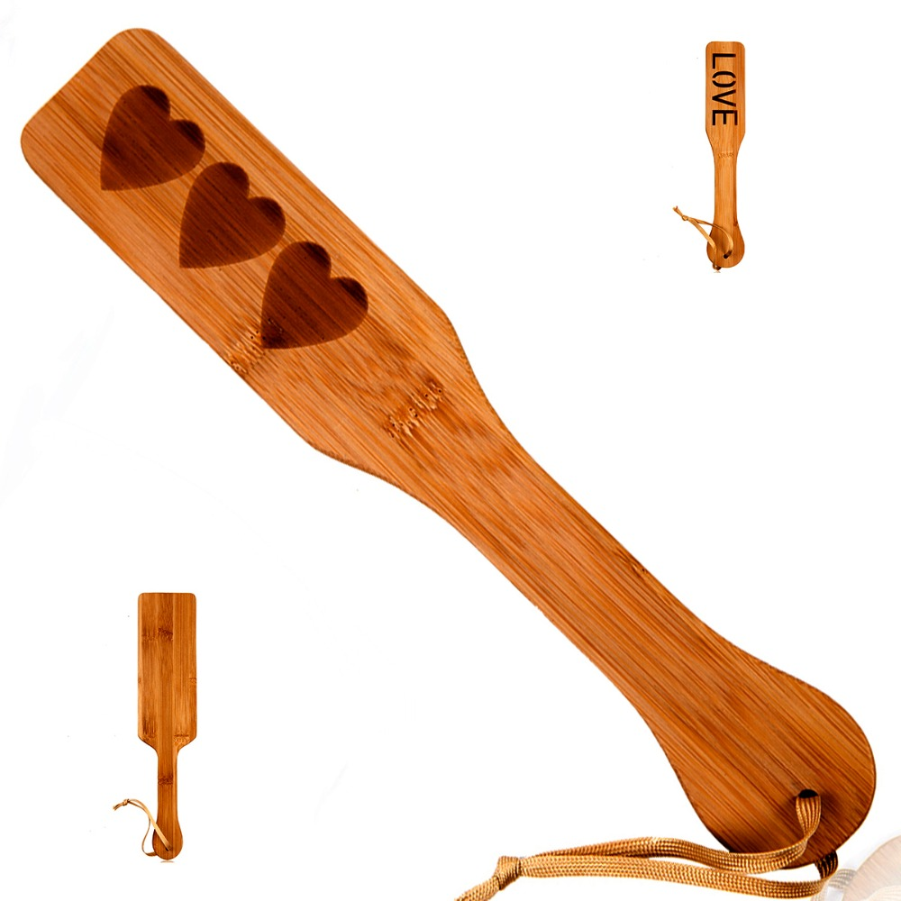 Natural Bamboo SM Spanking Paddle Print Wood Clap Flap Pat Beat Whip Lash Flog Ass Butt Adult Slave Game Sex Toy For Couple-30