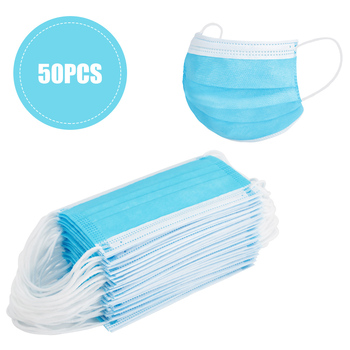 50PCS 3-Layer Face Masks With Elastic Ear Loop Dustproof Anti-Bacteria Disposable Protection Against Dust And Air Pollution Mask
