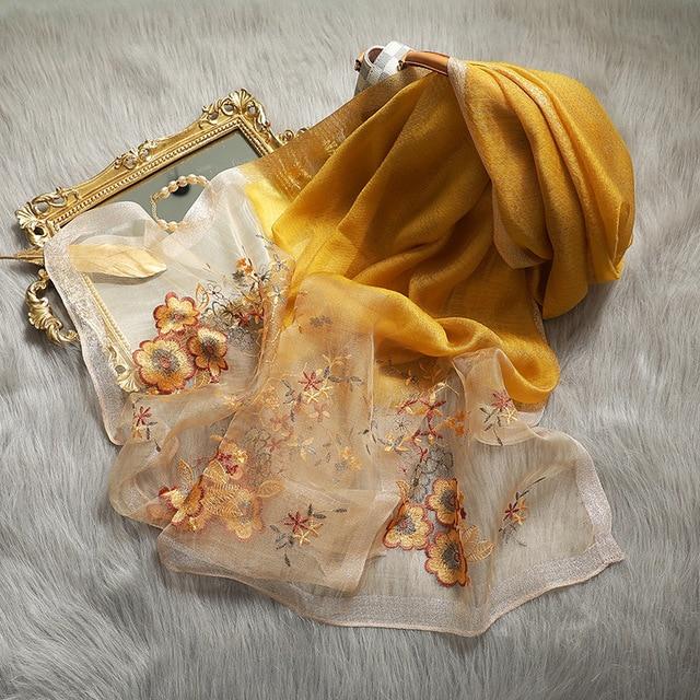 Hohe Qualität Frauen Seide Wolle Floral Stickerei Foulard Pashmina Hijab Schals Wraps Luxus Feste Cashmere Winter Schals