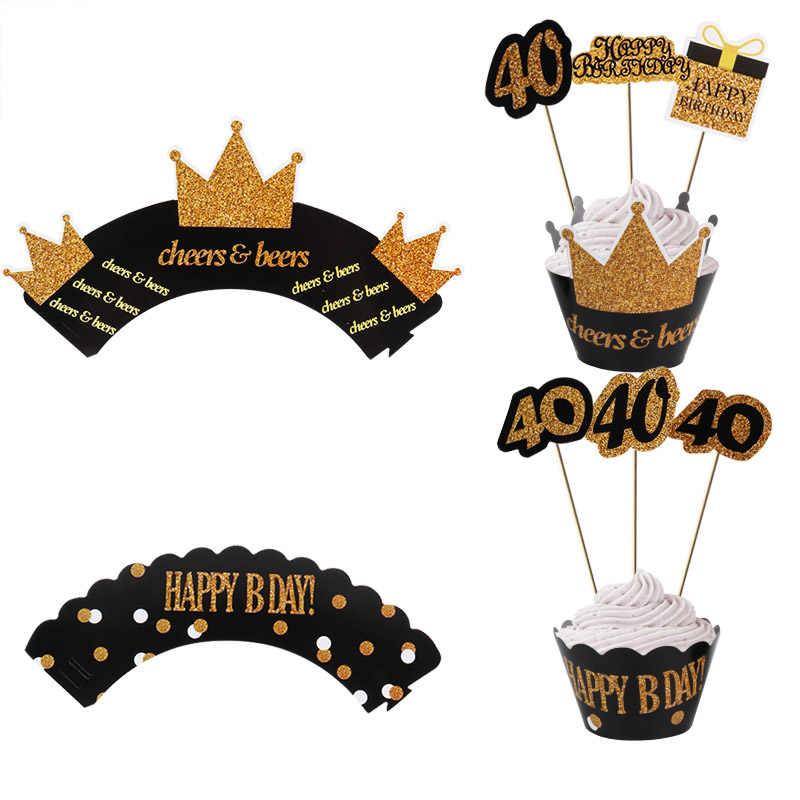12set 30th 40th 50th 60th torta de adorno de Oro Negro Cupcake con corona envoltorios Feliz cumpleaños fiesta decoraciones adultos decoración de aniversario