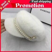 Add Khaki Color Pearl Buttons Winter Warm Faux Fur Lady Octagonal Hat Women Leisure Visors Cap