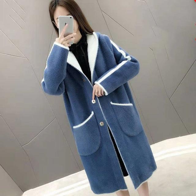 Thicken Faux Fur a two-way Jacket Women's Korean Wild Sheep Curl Loose Fur Coat