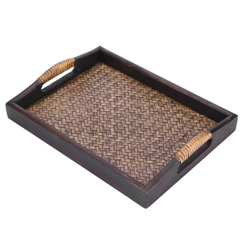 New-Multi-Functional Wooden Serving Trays With Handle Rectangle Handmade Rattan Bamboo Tea/Oil Trays Dessert/Coffee/Fruits Plate