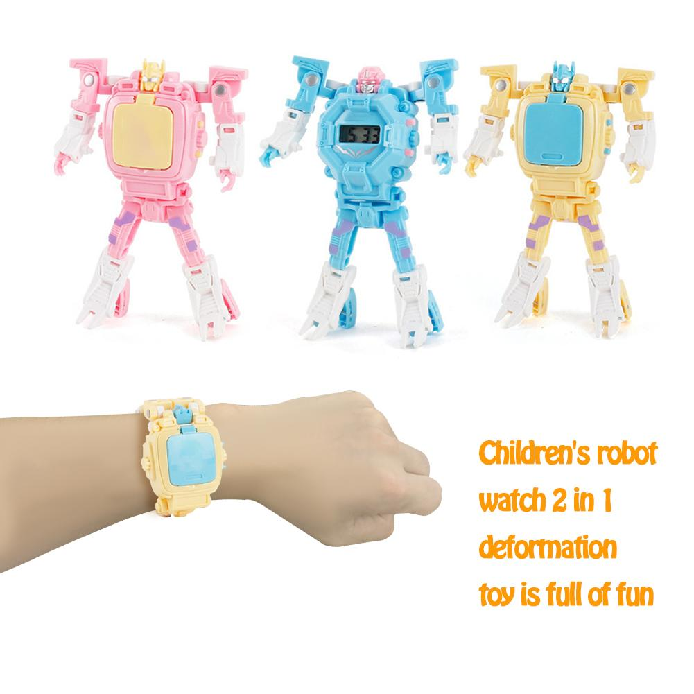 Kids Watch Digital Toy Innovative Cartoon Deformation Robot Electronic Watches Boys Girls Innovation Gifts For Birthday New Year