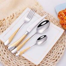 Vajilla completa de acero inoxidable para cocina, juego de cubiertos dorados, tenedor, cuchara, cuchillo, juego de vajilla, envío directo