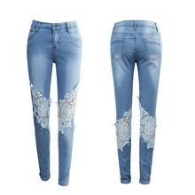 Adogirl knee cut-out white lace-print ninth pants vintage pencil skinny long pants zip-up ripped jeans scratched denim pants flower print zip up jacket with pencil pants