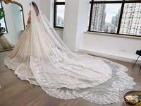 Real Photos 2018 White/Ivory Wedding Veil 3M With Comb Lace Beads Mantilla Bridal Veil Wedding Accessories Veu De Noiva MD47