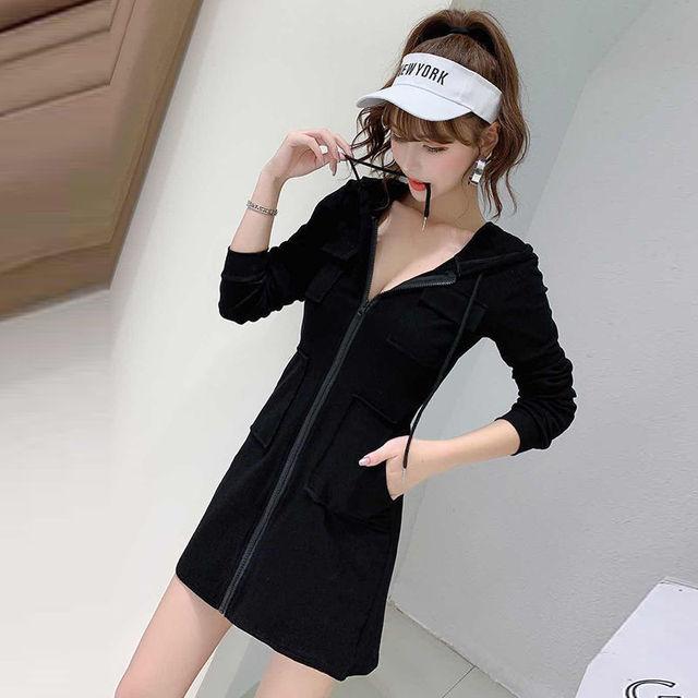 Women's casual hooded dress 2021 Korean version of the new long sleeved high waist slim slimming waist dress ins fashion trend 3