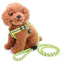 Reflective Safety Adjustable Chest Strap Pet Harness Leash Dog Back Traction Belt Walking Lead